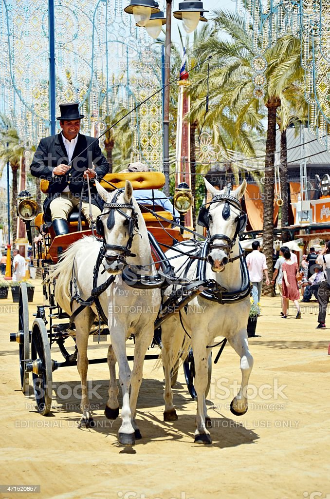 Man in carriage horses royalty-free stock photo