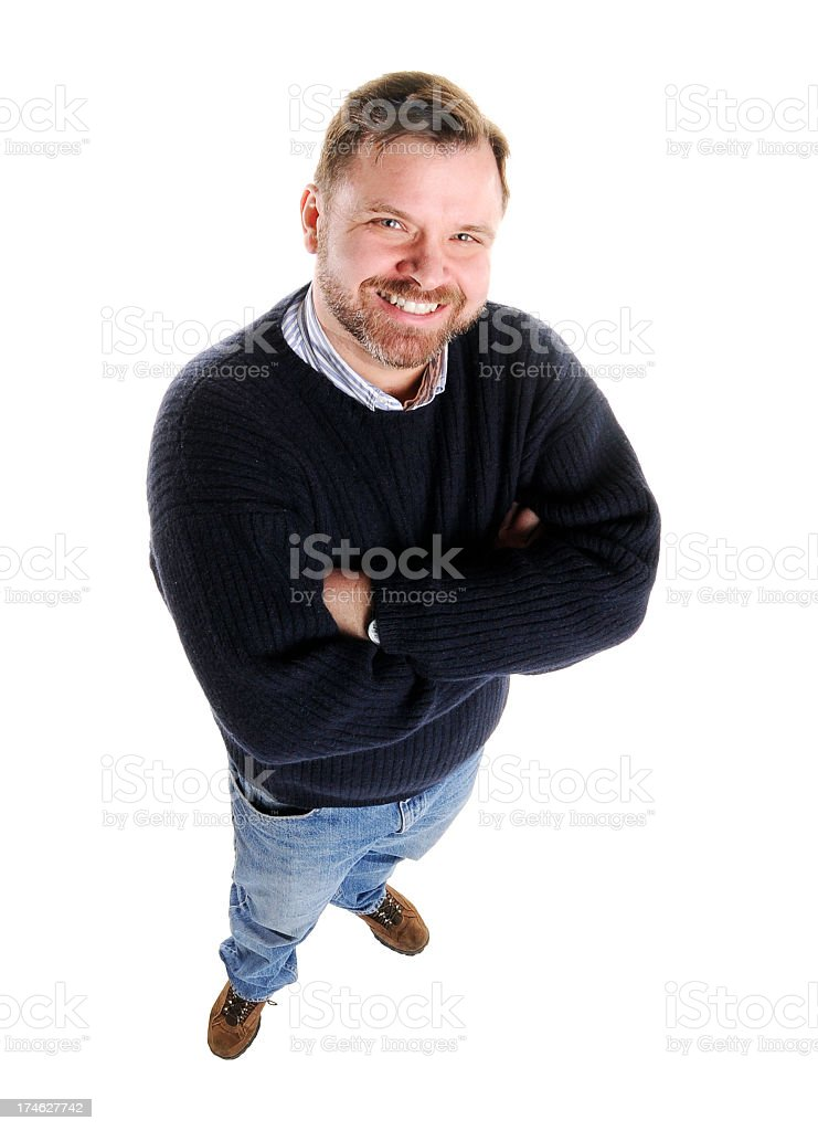 Man in casual dress smiling up at camera royalty-free stock photo