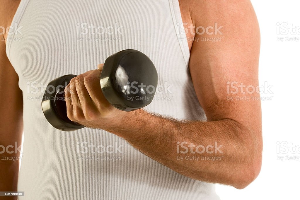 Man in casual wife-bitter a-top work out dumbbell royalty-free stock photo