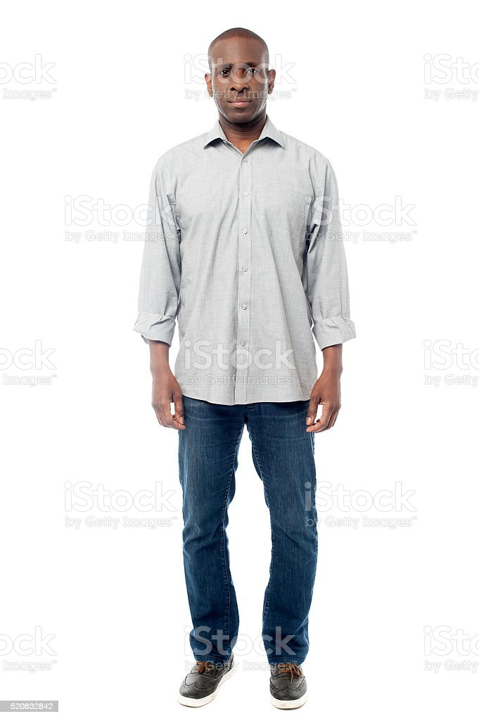 Man in casuals isolated on white stock photo