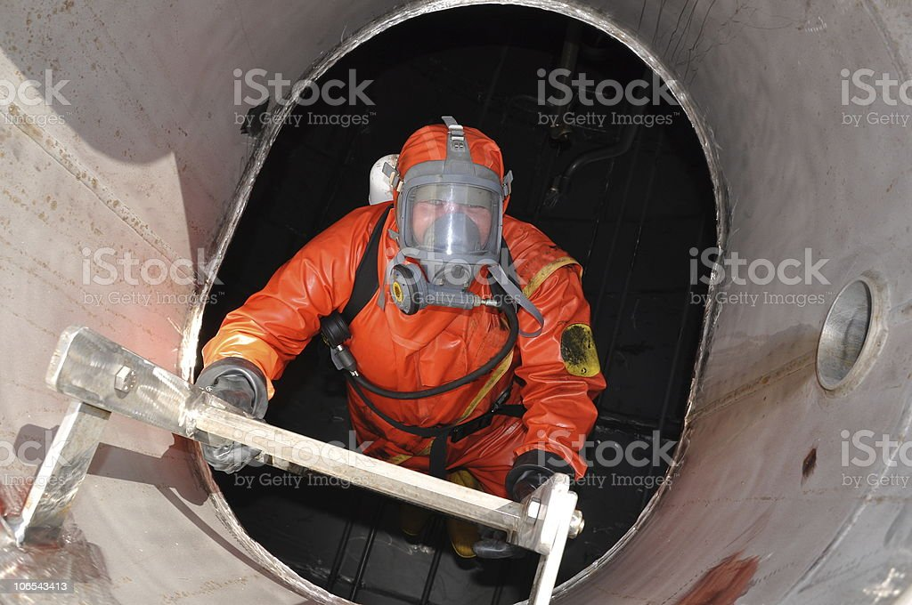 man in chemical suit royalty-free stock photo