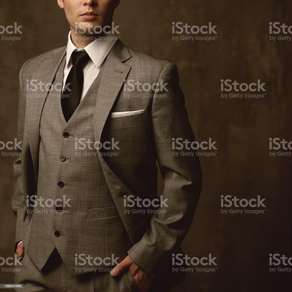 Man in classic suit stock photo