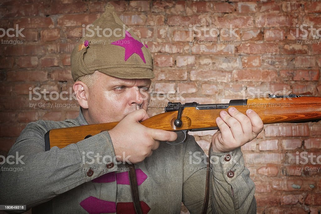 Man in clothes of Red Army soldier royalty-free stock photo