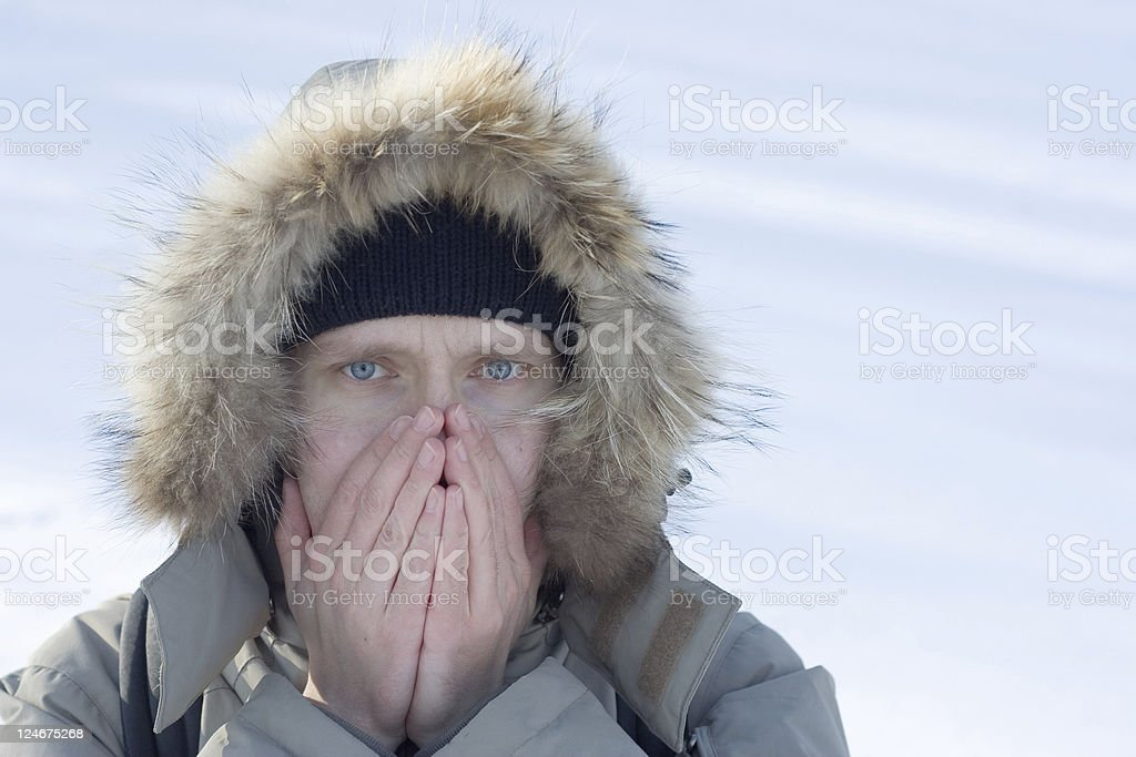 Man in cold royalty-free stock photo