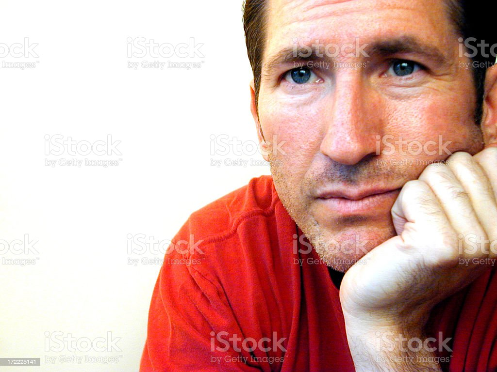 Man in Contemplation stock photo