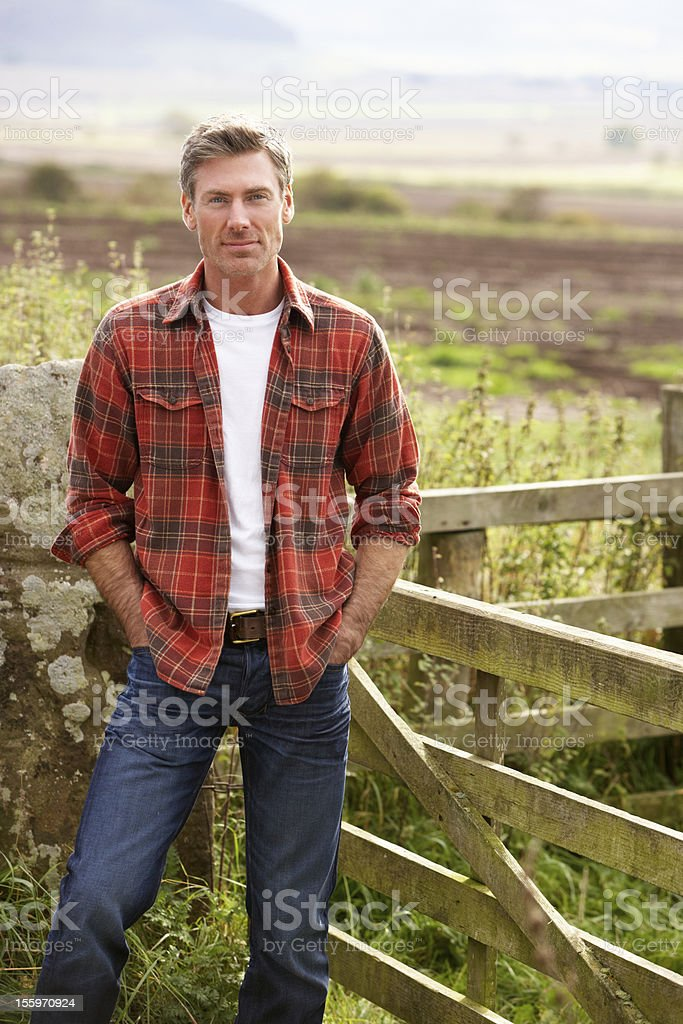 Man in countryside stock photo