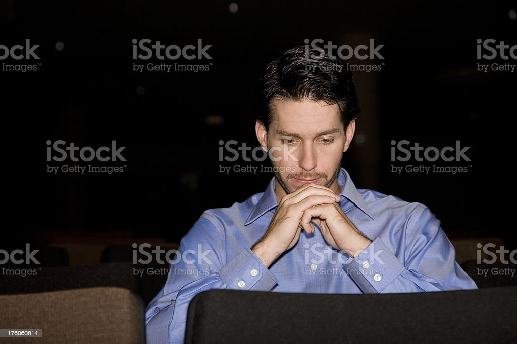 Man in Deep Thought at Church stock photo