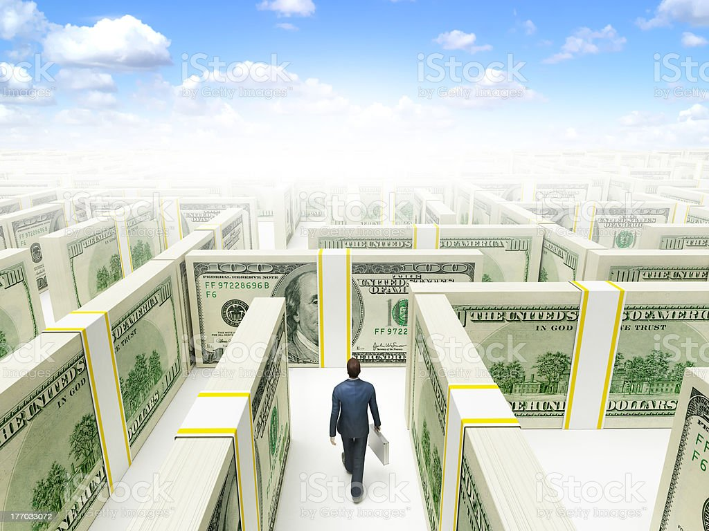 Man in Dollars Maze Labyrinth royalty-free stock photo
