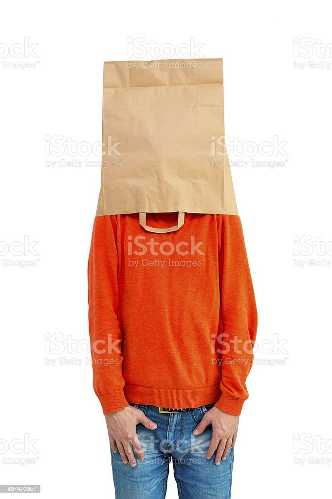 Man in ecological paper bag on head isolated on white background stock photo
