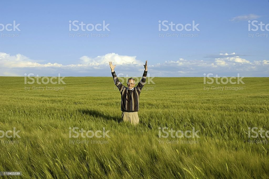 Man in Field – Success! royalty-free stock photo