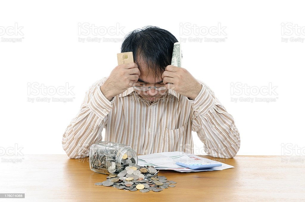 Man in financial crisis royalty-free stock photo