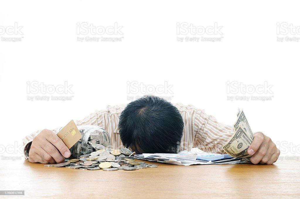 Man in financial hardship stock photo