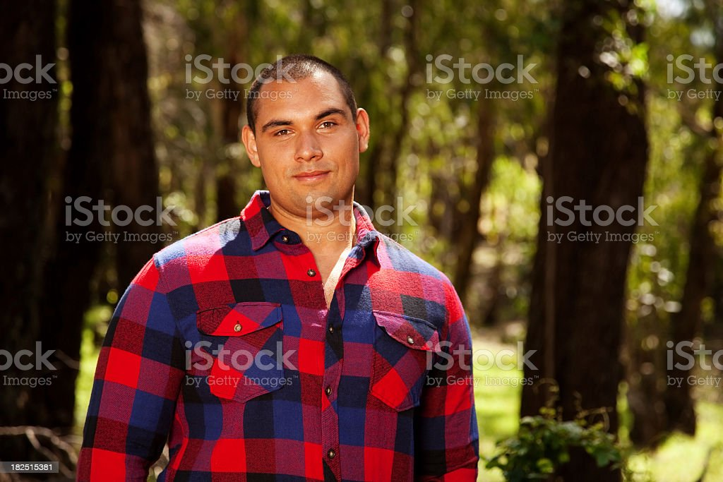 Man In Forest stock photo