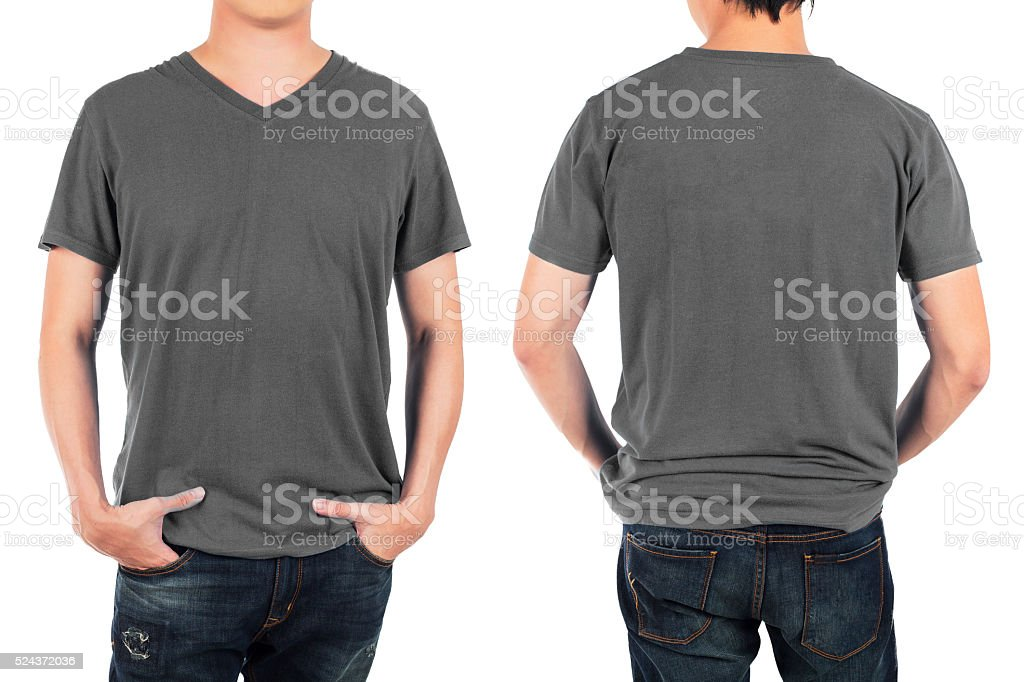 man in front and back grey shirt. stock photo