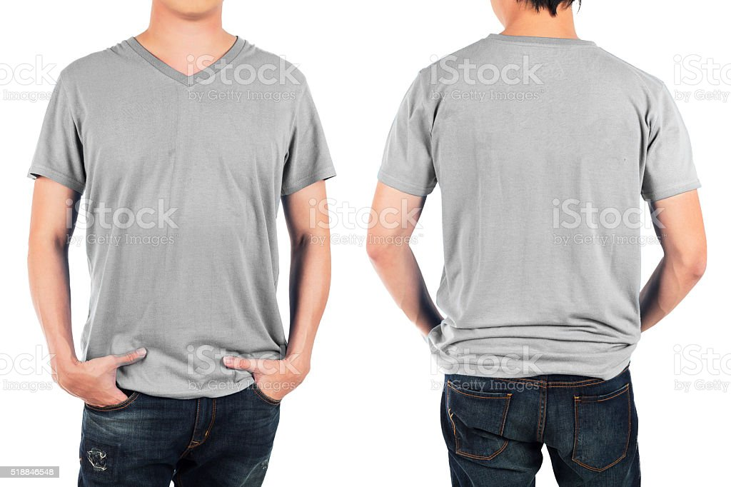 man in front and back light grey shirt. stock photo