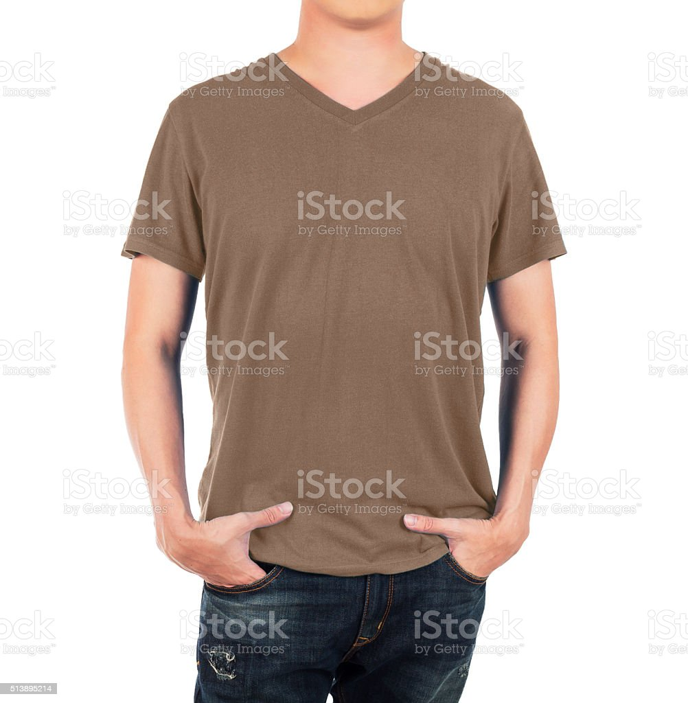 Man in front brown shirt on white background stock photo