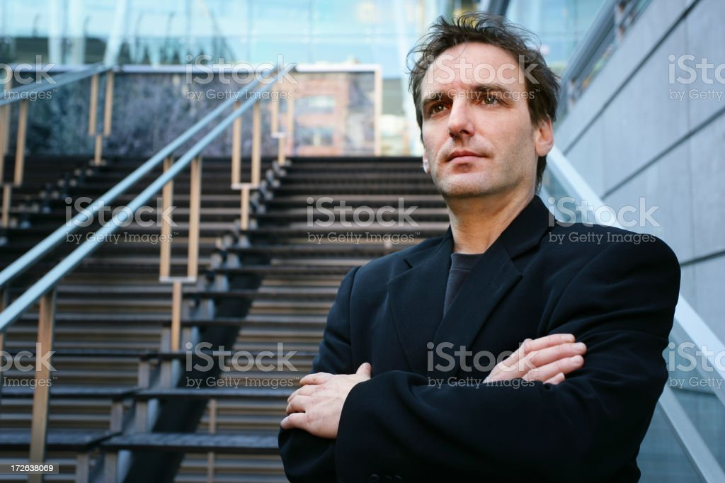Man in front of a building royalty-free stock photo