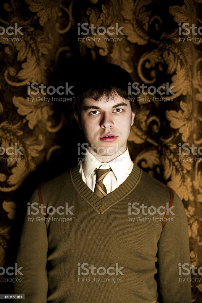 Man in front of a  wallpaper royalty-free stock photo