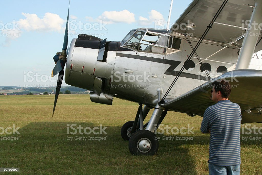 man in front of an aircraft royalty-free stock photo