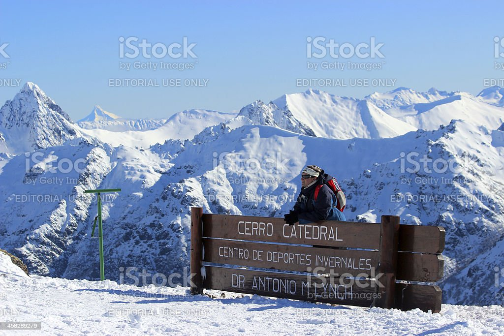 Man in front of Lynch Refuge - Andes * Patagonia stock photo