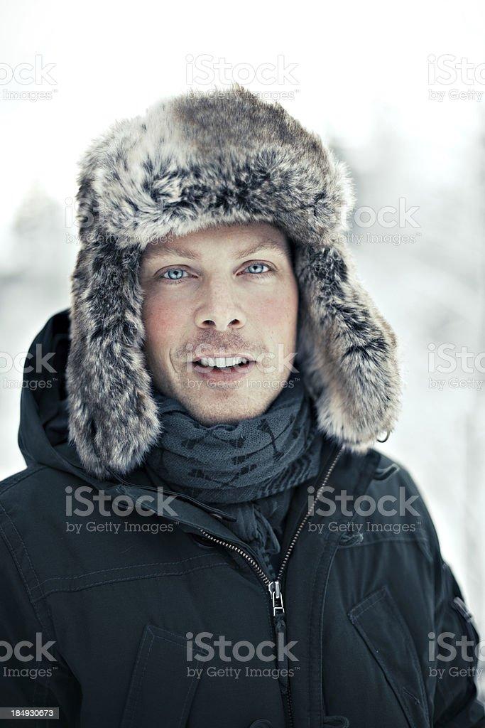 Man in fur hat royalty-free stock photo