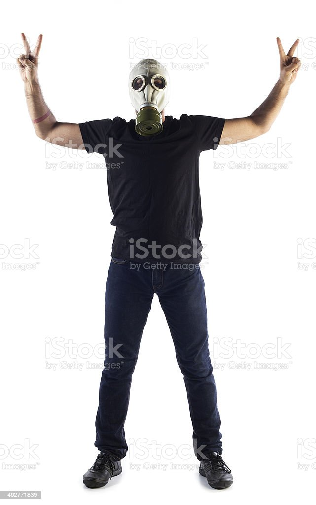 Man in Gas Mask stock photo