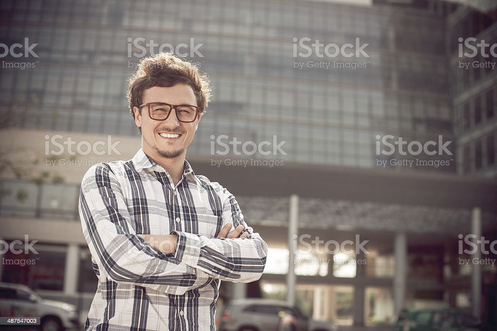 Man in glasses stock photo
