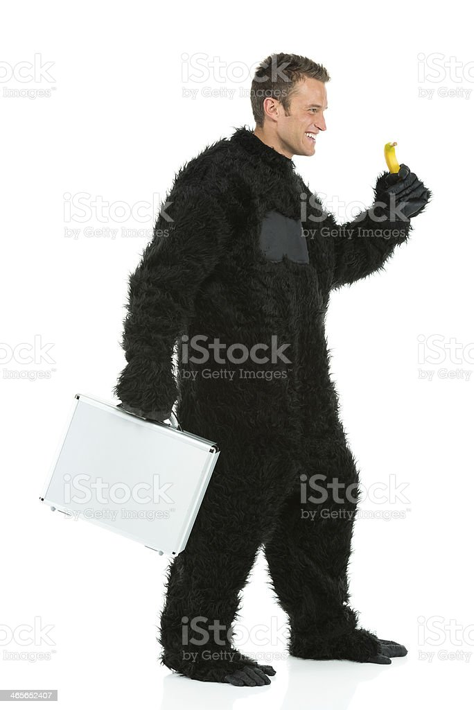 Man in gorilla costume holding briefcase royalty-free stock photo