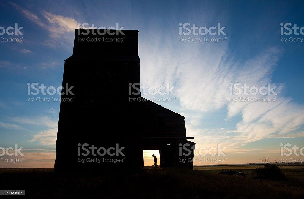 Man in Grain Elevator royalty-free stock photo