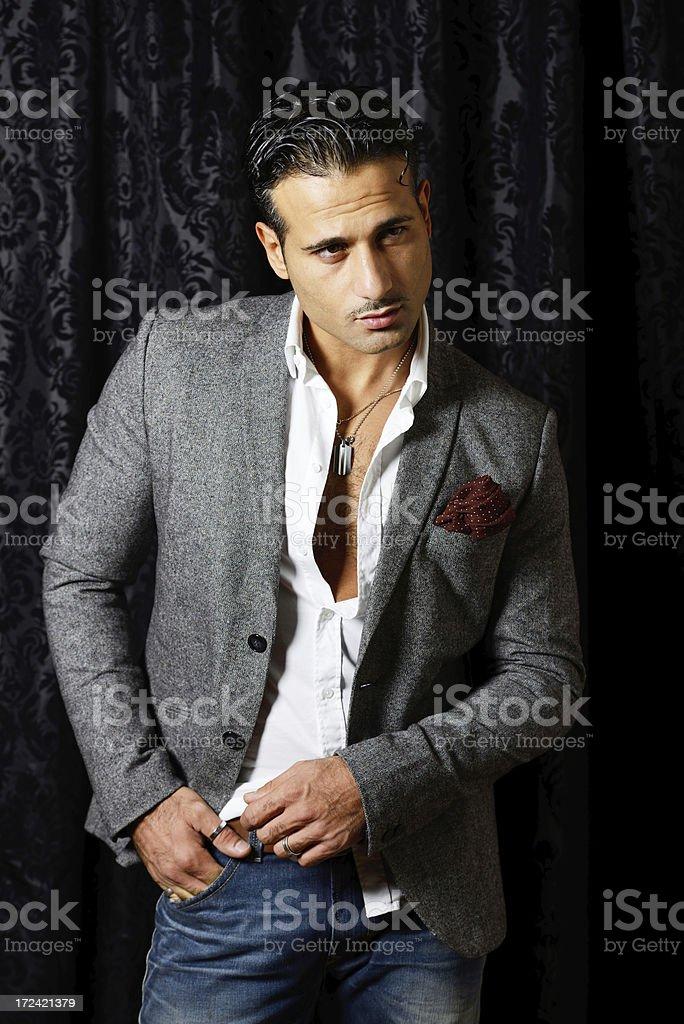 Man in gray jacket royalty-free stock photo