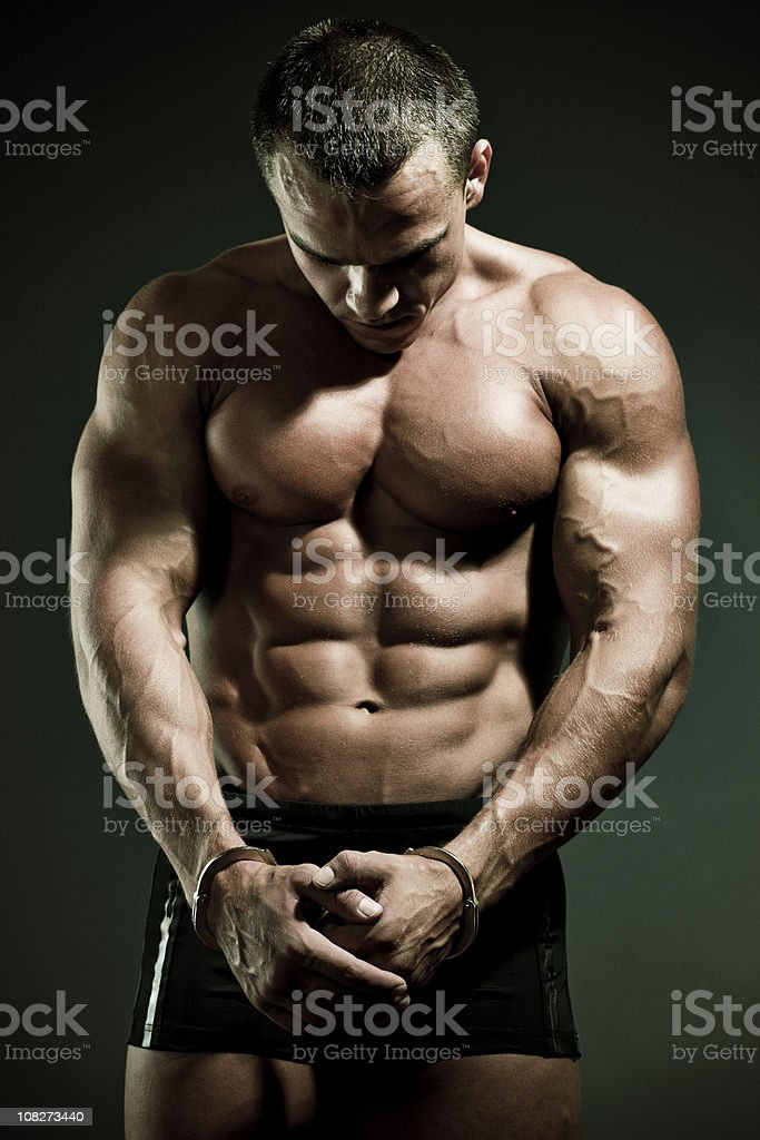 Man in handcuffs royalty-free stock photo