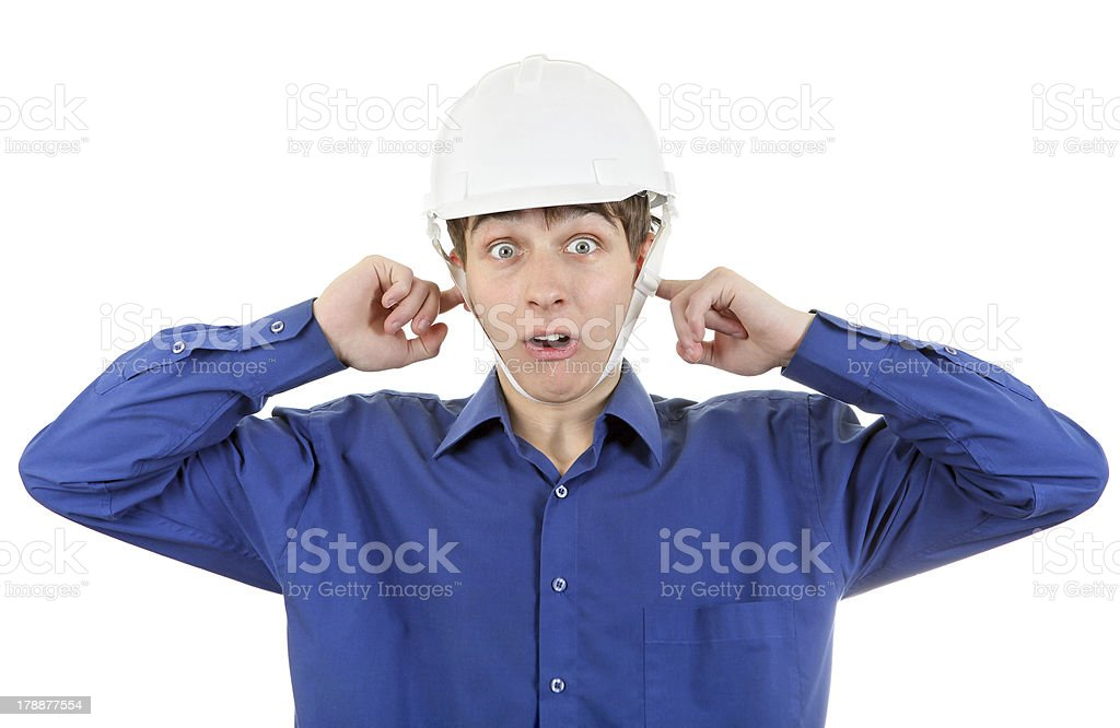 Man in Hard Hat with Closed Ears royalty-free stock photo