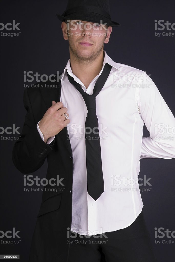 man in hat and suit royalty-free stock photo