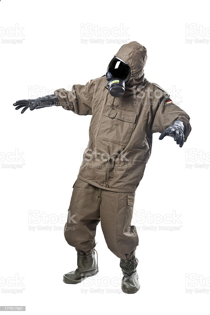 Man in Hazard Suit scared royalty-free stock photo