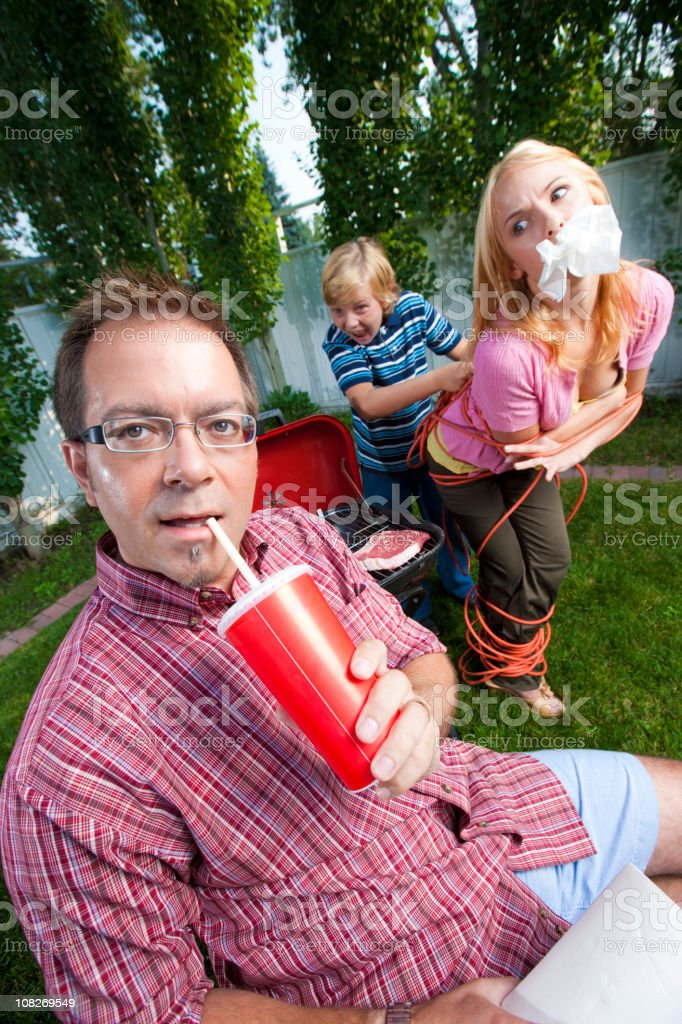 Man in his backyard stock photo