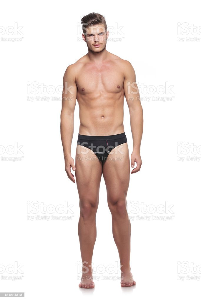 man in his underware stock photo