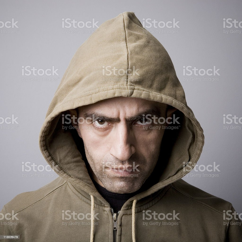 Man in hooded coat royalty-free stock photo