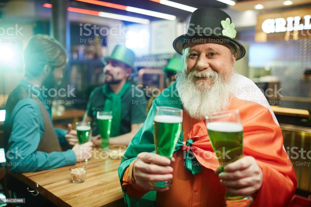Man in Irish pub stock photo