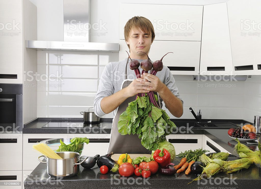 Man in kitchen royalty-free stock photo