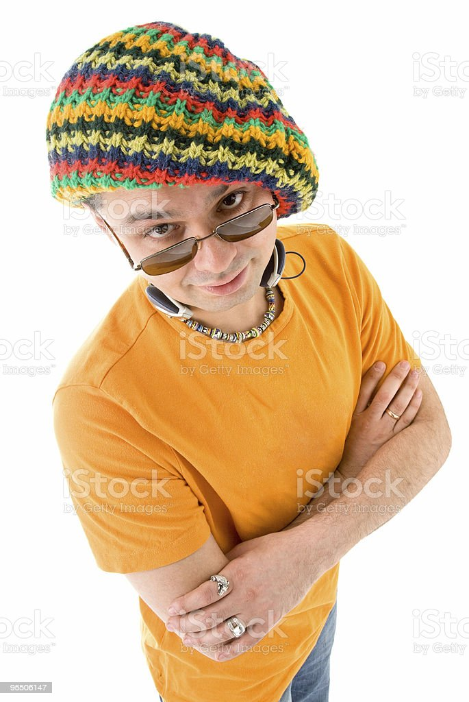 Man in knit hat royalty-free stock photo