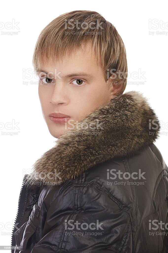 man in leather jacket royalty-free stock photo