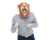 Man in lion costume and shouting