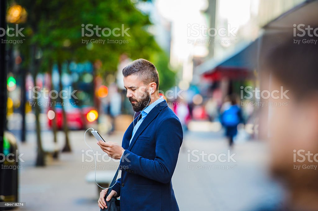 Man in London stock photo