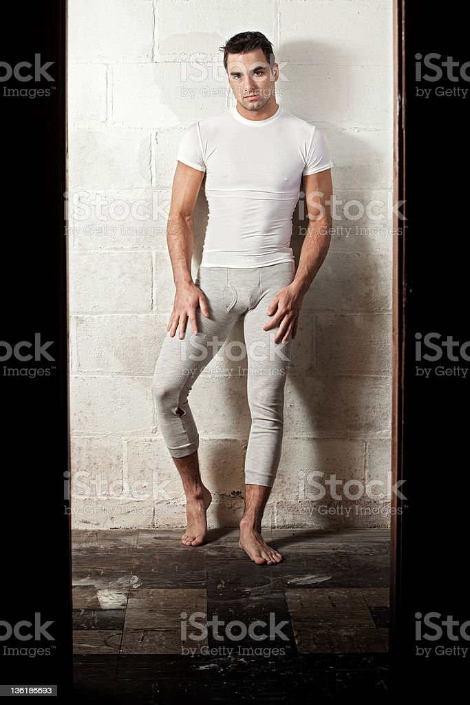 Man in Long Underwear stock photo