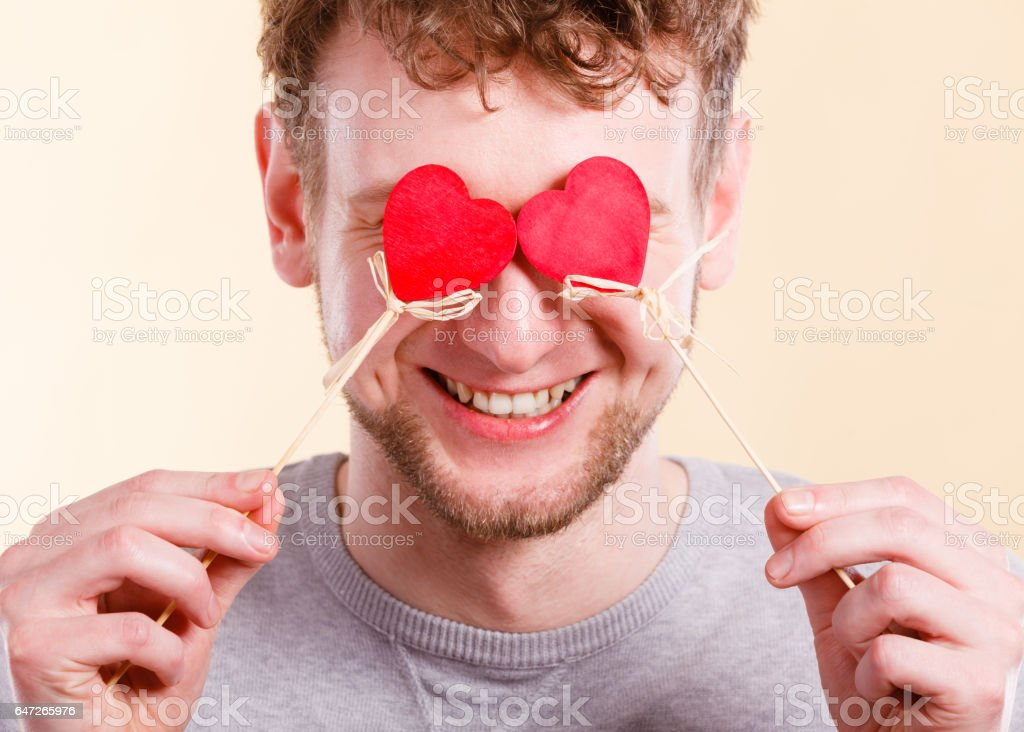 Man in love with hearts. stock photo