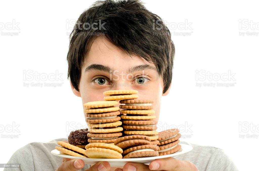 Man in love with sweets, candies,chocolate and sugar stock photo
