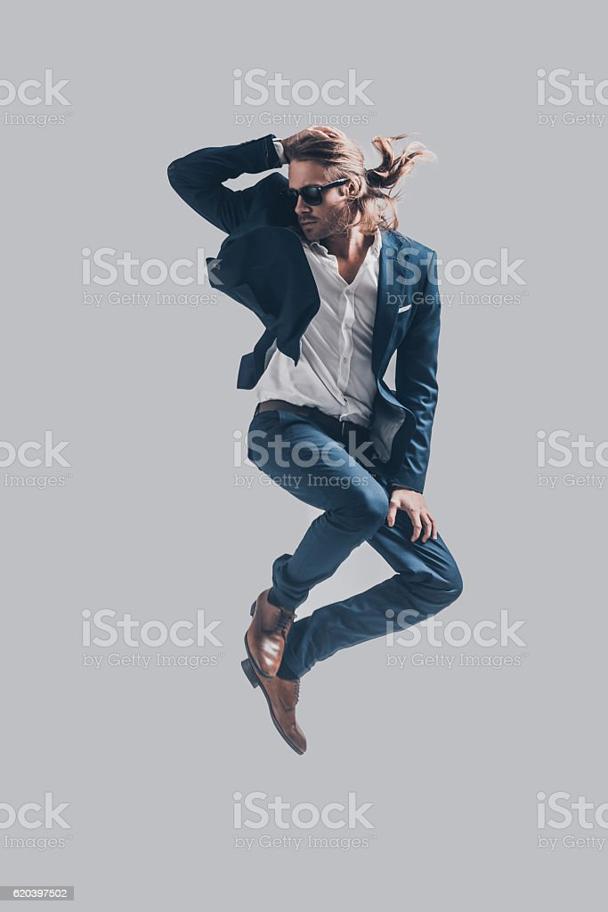 Man in mid-air. stock photo