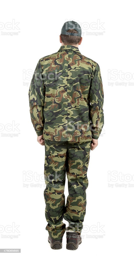 Man in military suit back view. stock photo