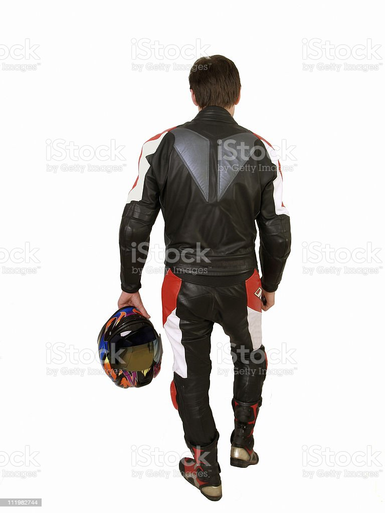 Man in Motorcycle Leathers stock photo