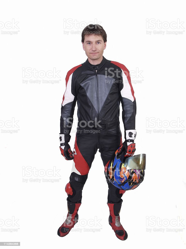 Man in Motorcycle Leathers royalty-free stock photo